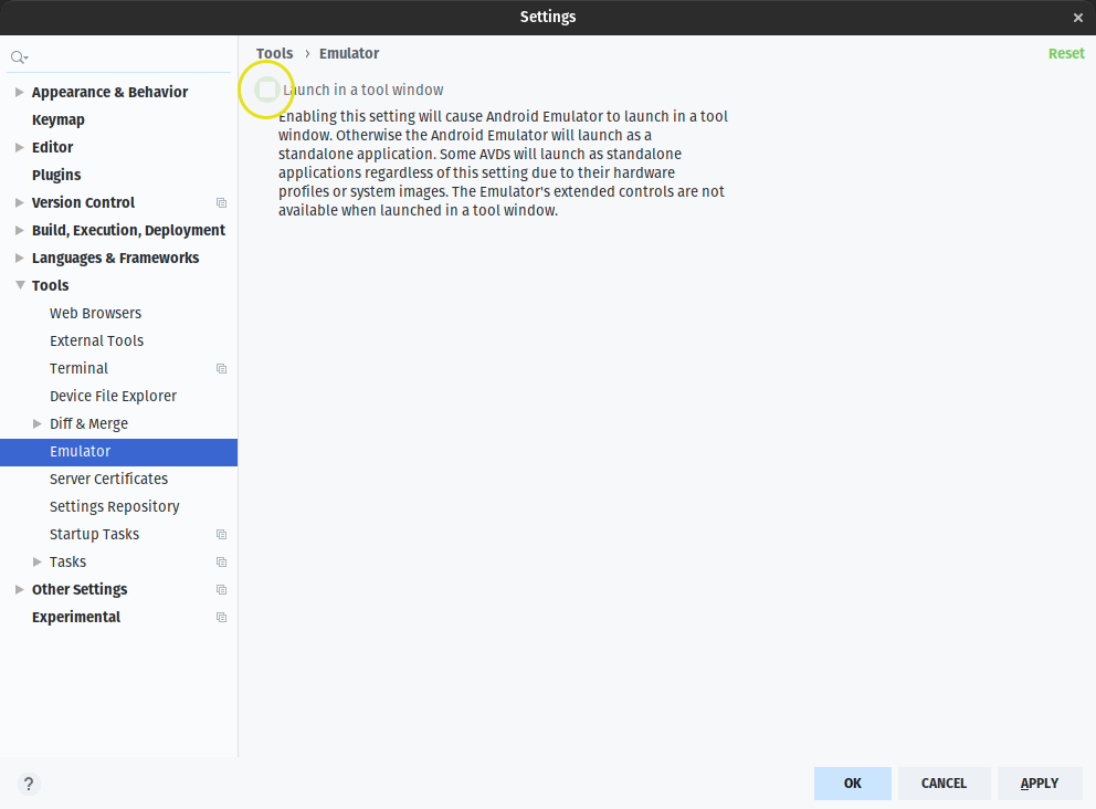 Enable launch in a tool window