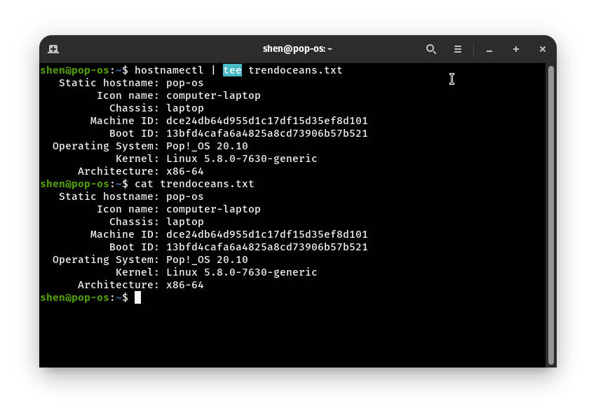 save the command output from the Linux terminal and How to use tee command?