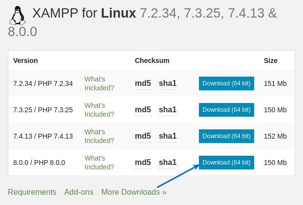 Install XAMPP On Ubuntu and select linux