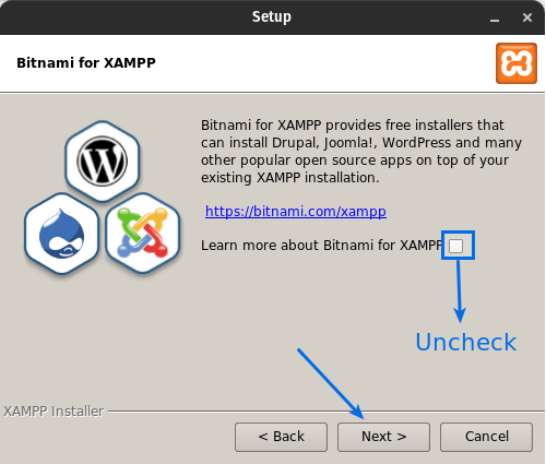 Uncheck Learn more about Bitnami for XAMPP