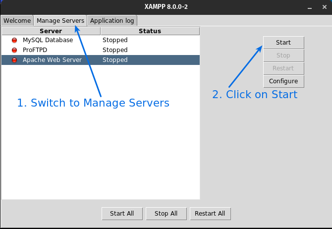 Click on Manage server then click on start button