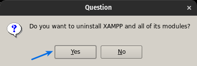 "Install XAMPP On Ubuntu Select ""Yes"""