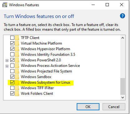 Check Windows Subsystem for Linux