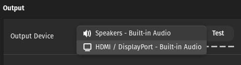 HDMI option is available