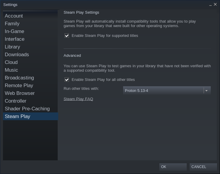 Click on Enable Steam Play for all other titles to unlock Potron