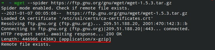 File size using wget