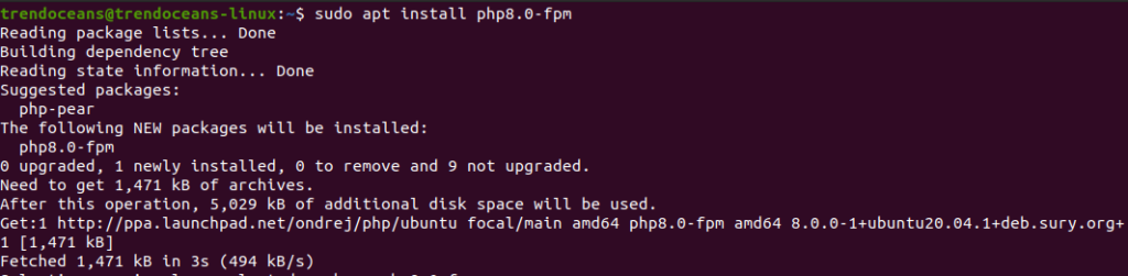 Install PHP 8.0 with FPM
