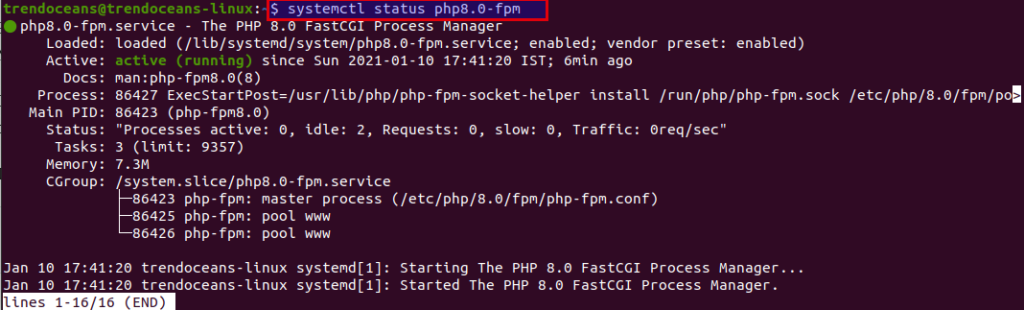 Check status of PHP-FPM