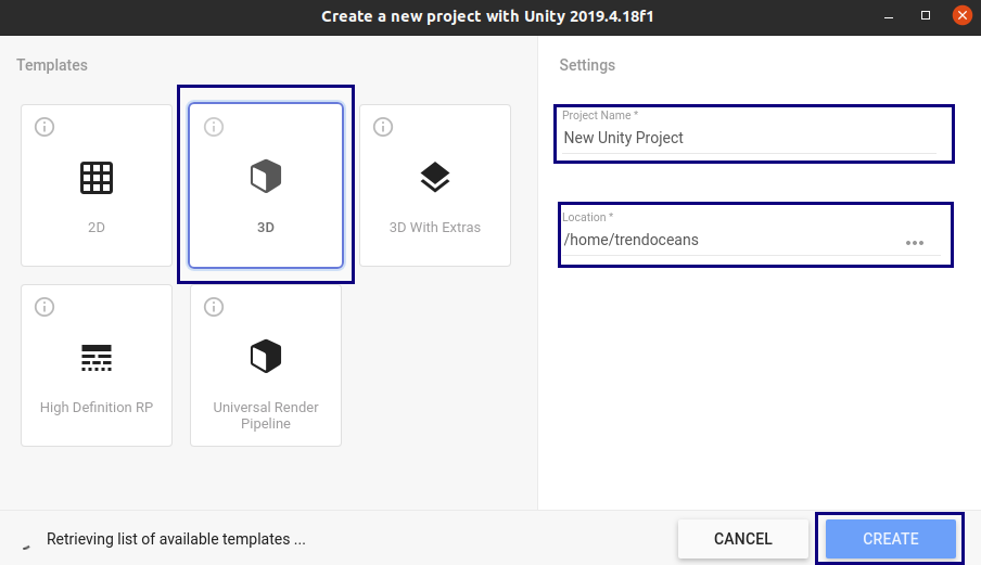 Create New Projects in Unity