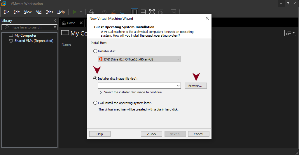 Select Installer Disc Image file (iso)