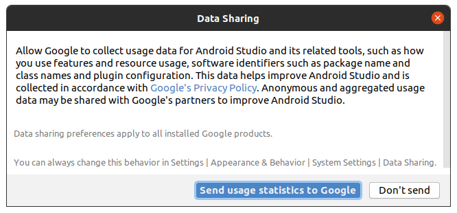 Data Sharing click on Don't send