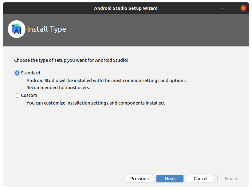 """Install Type select """"standard"""""""