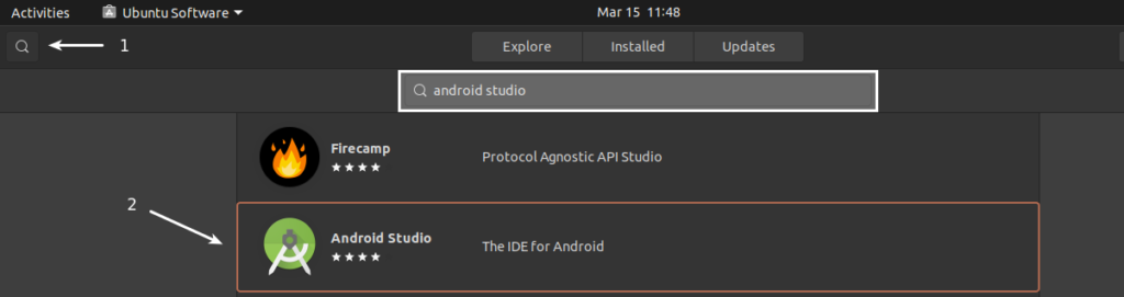 Steps to Search Android Studio