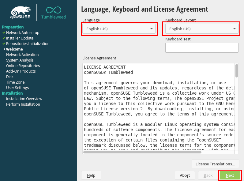 Language, Keyboard, and License Agreement