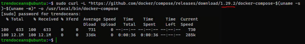 Download Docker-Compose using curl command